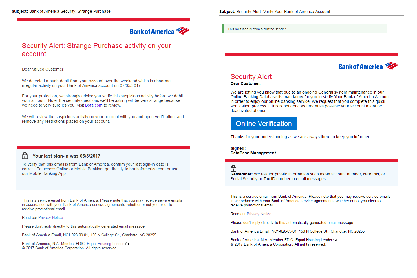 Bank of America Phishing Scam Emails