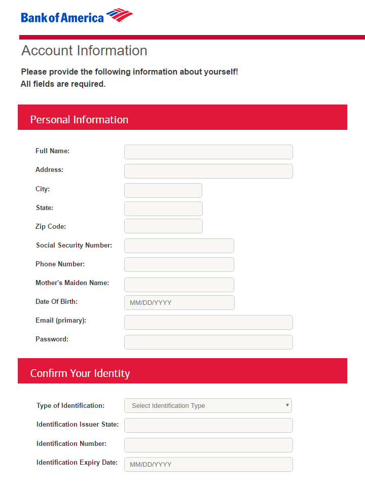Fake Bank of America Account Information Form