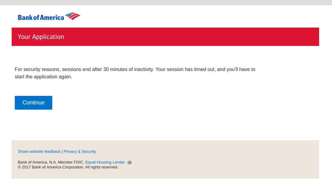 Bank of America Phishing Scam Real Timeout Page