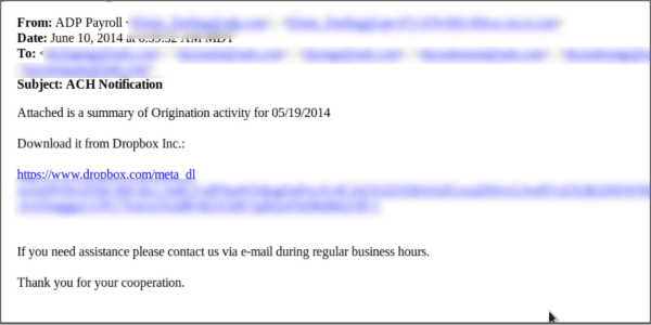Spam Alert - Email Spoofing with Dropbox Link to