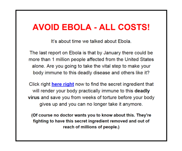 Ebola Email Scam - October 2014