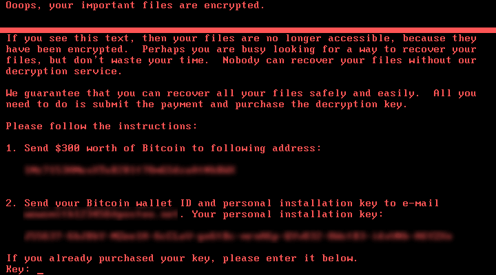 Petya Ransomware Bitcoin Payment Demand Screen