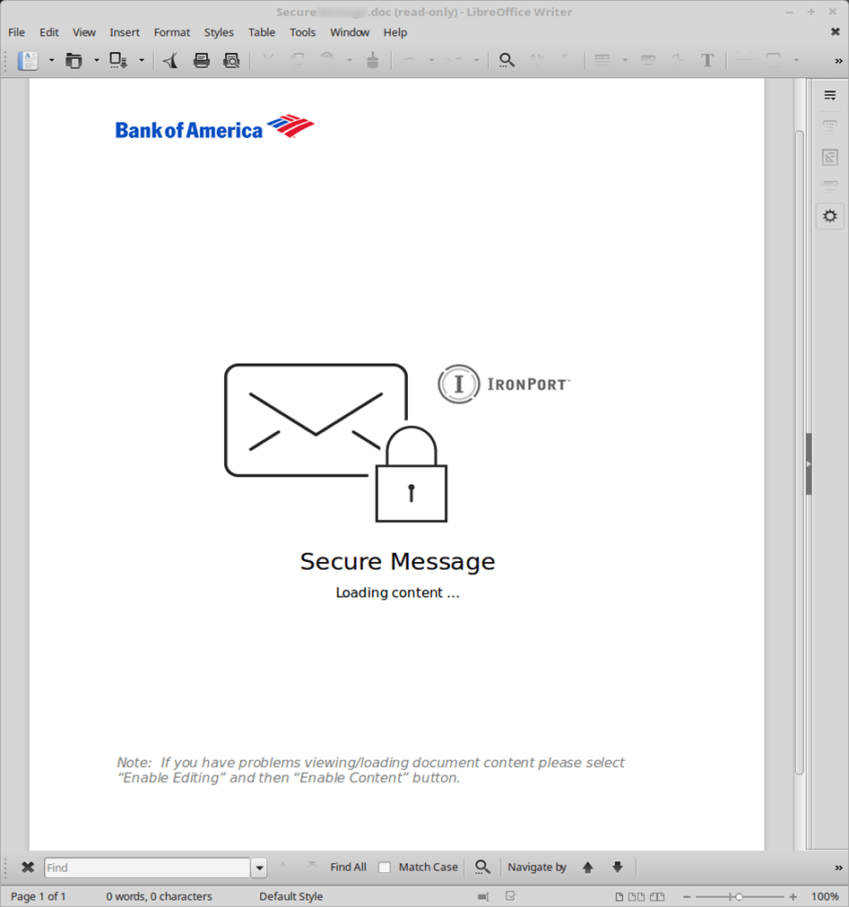 Fake Bank of America email attachment infects your computer with the TrickBot banking Trojan