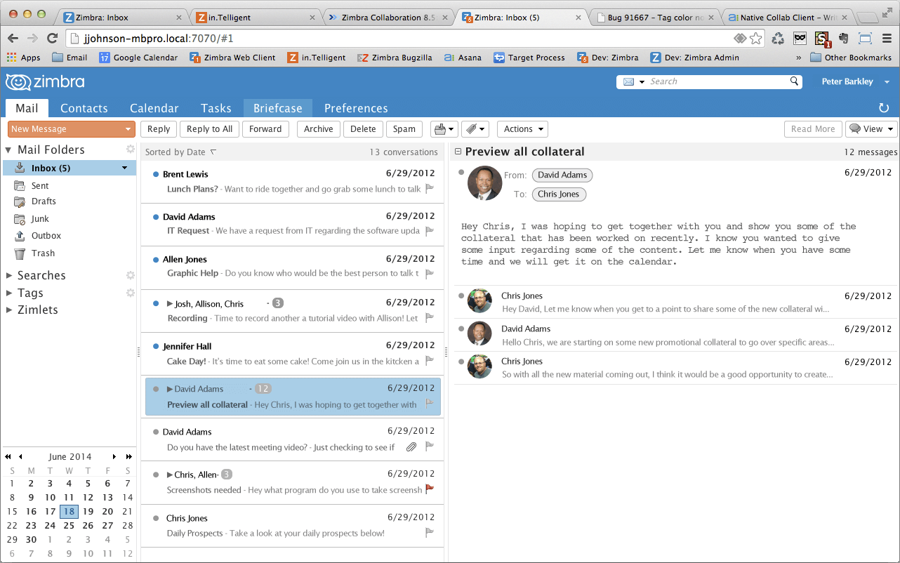 Zimbra Web-Based Mail Client