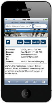 Mobile ZixPort Branded Gateway for Email Encryption